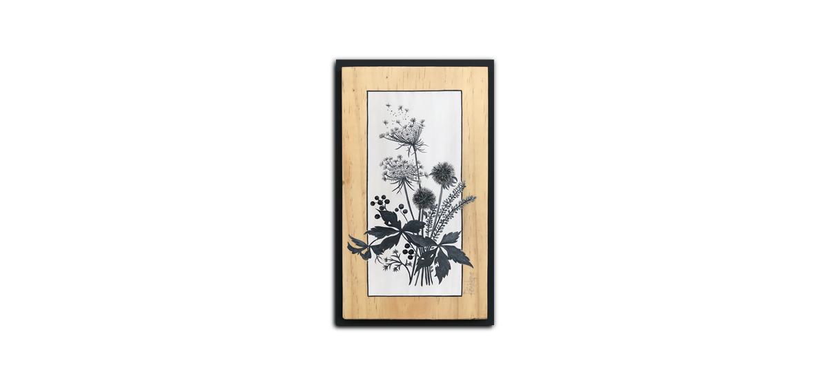 bouquet herbes sauvages, acrylique sur pin