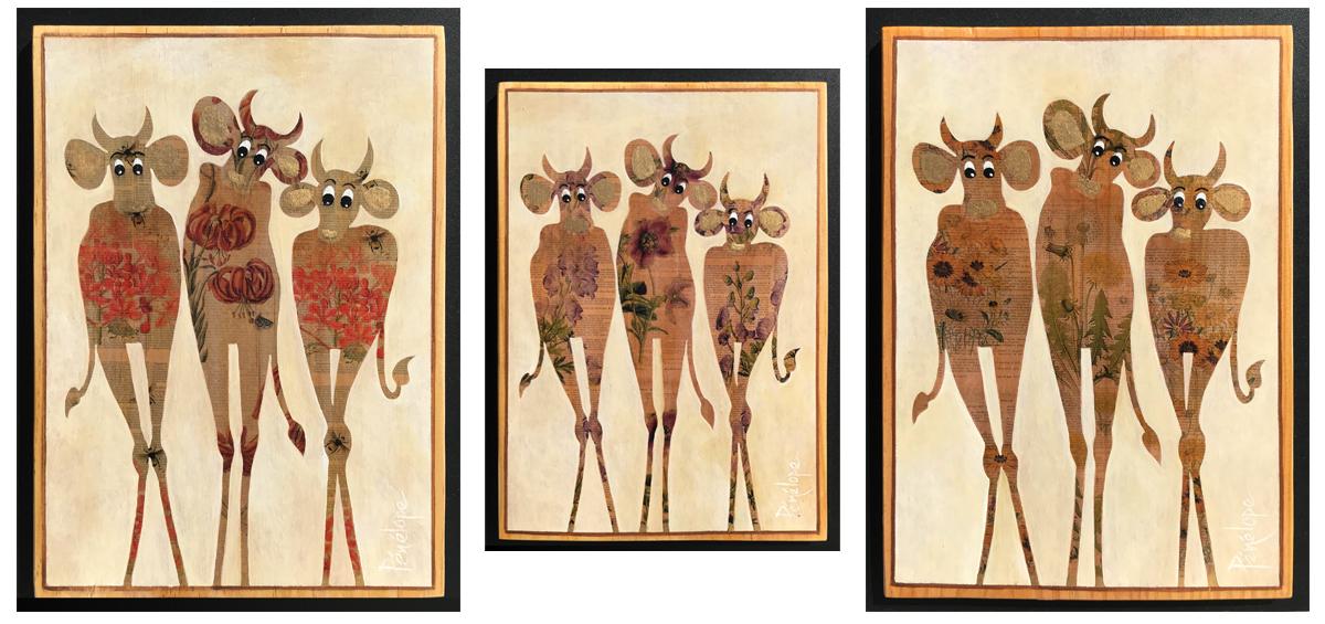 tableau en technique mixte : trois vaches