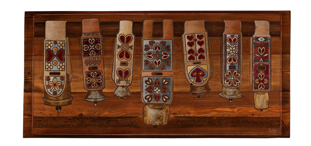 tableau de colliers de cloches de brebis