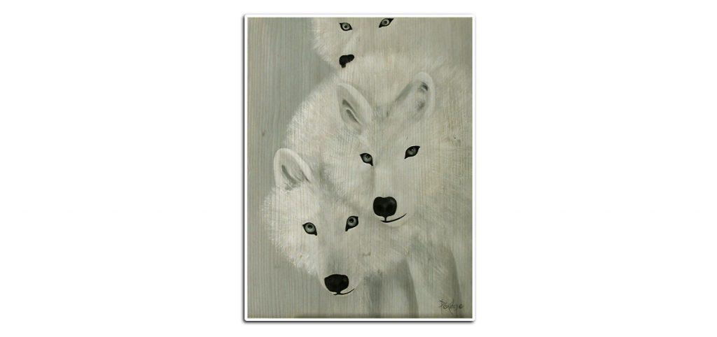 peinture trois loups