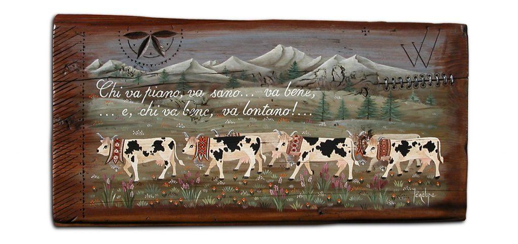 peinture sur mélèze défilé de vaches blanches et noires