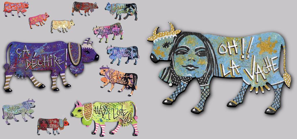 vaches magnétiques en bois