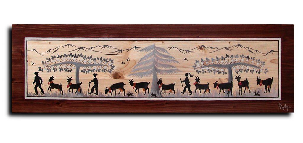 peinture sur bois : chèvres