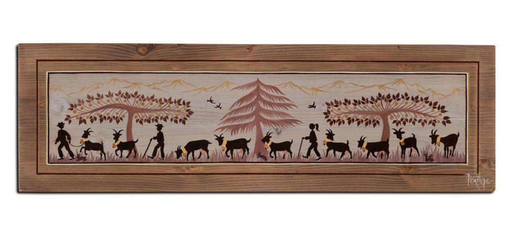chèvres peintes sur bois