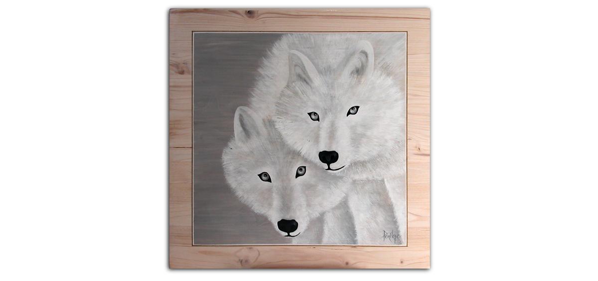 couple loups blancs