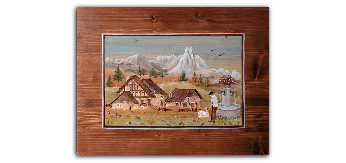 Névache et Cervières, peinture sur bois