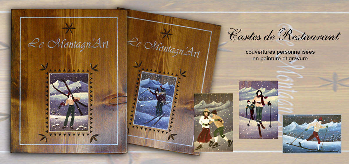 menu, couverture bois peint et gravé