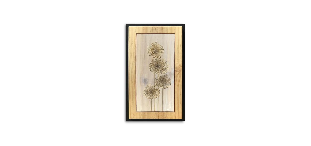 herbes sauvages peintes à l'or, fleurs d'ail