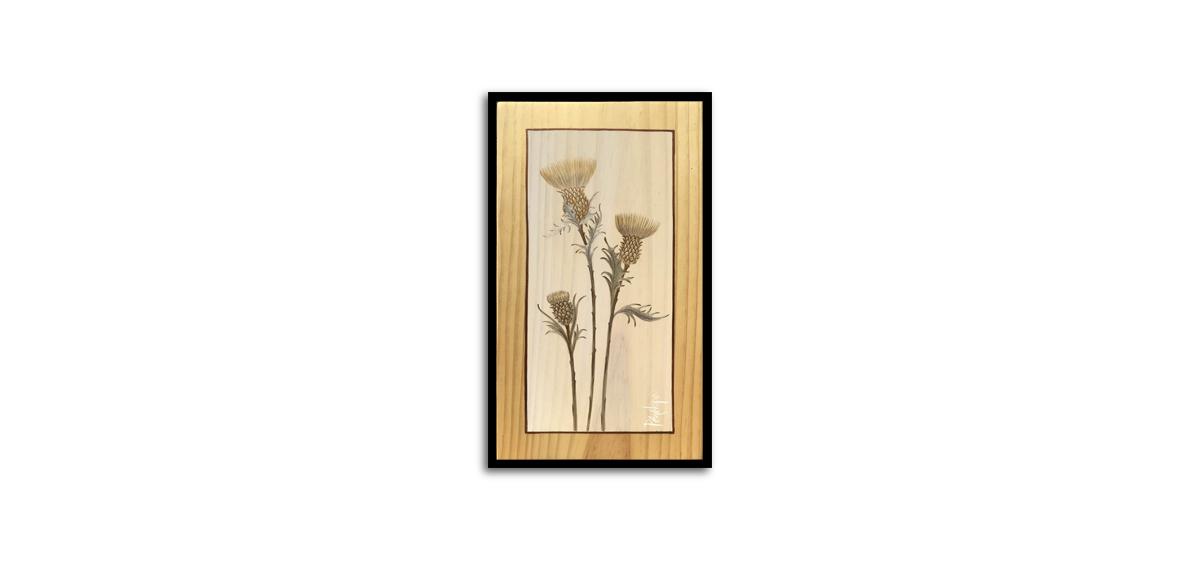 herbes sauvages peintes à l'or, chardon des ânes