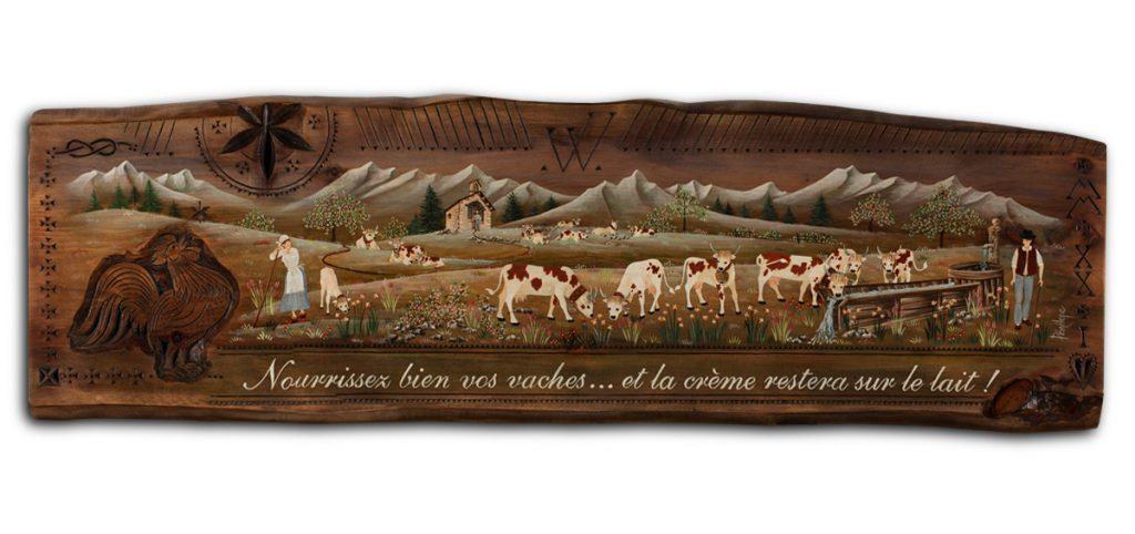 peinture sur bois, vaches à l'abreuvoir