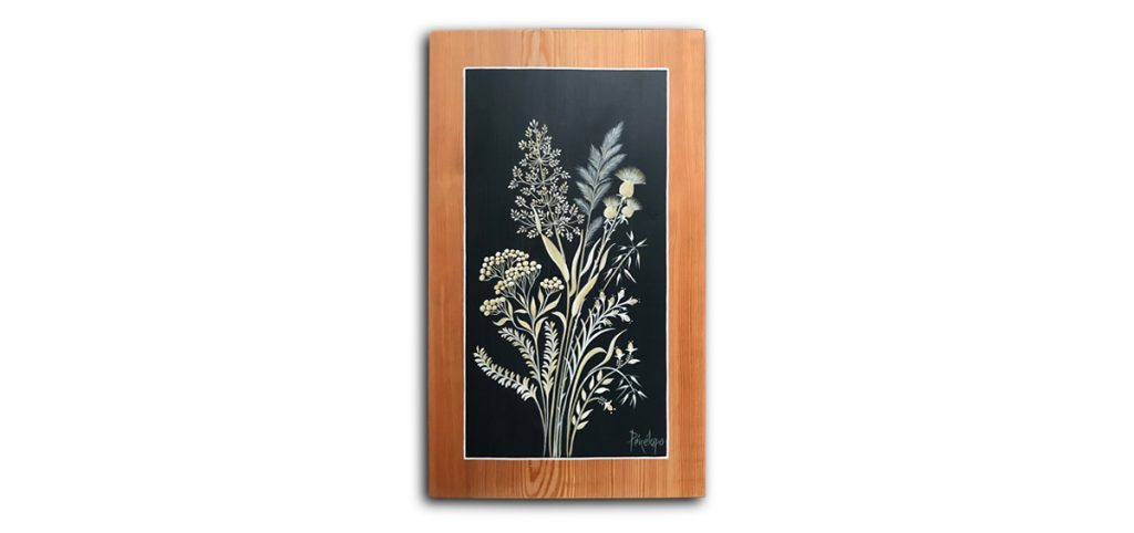 peinture sur bois : bouquet d'herbes sauvages